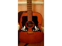 KAY Acoustic Guitar, Dreadnought , comes with clip-on pick-up, strap & case.
