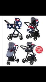 Cosatto giggle oh la la travel system 3in1 carrycot car seat pushchair