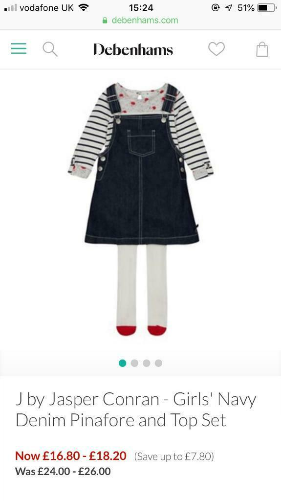 28468301b Baby girls clothes outfit dungarees and coat debenhams jasper conran age  3-6 months