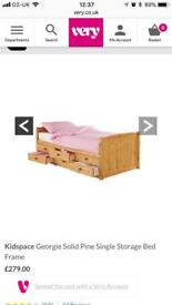 Single pine bed with storage