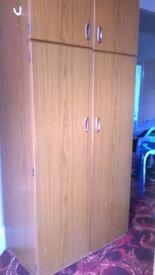 Two door wardrobe with shelves
