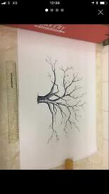 Wedding or party Guest book fingerprint tree