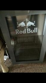 Red bull small fridge with 2 shelves and lights