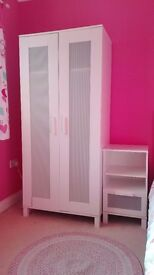 White Bedroon Wardrobe Chest of Drawers & Bedside Table