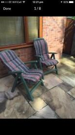 Semi Reclining Garden Chairs with Cushions (Pair)