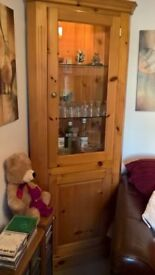 Pine Corner Unit..Glass Shelves..very nice..