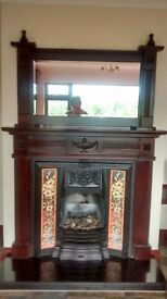 Mahogany Fireplace and Mantle Mirror