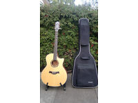 Crafter TGA E06 electro-acoustic steel string guitar with quality soft case