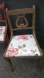 Pair of Lyre chairs pinted in Chateau grey