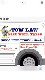 Tow law part worn tyres open 7days a week.