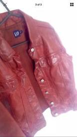 Genuine GAP red leather jacket (M)