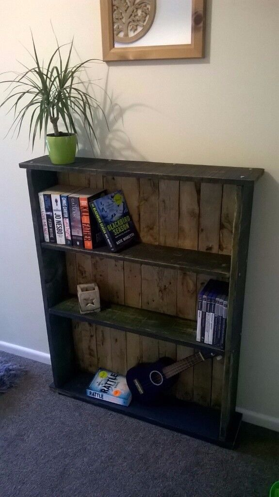 Reclaimed wood bookcase with real shabby chic finish.
