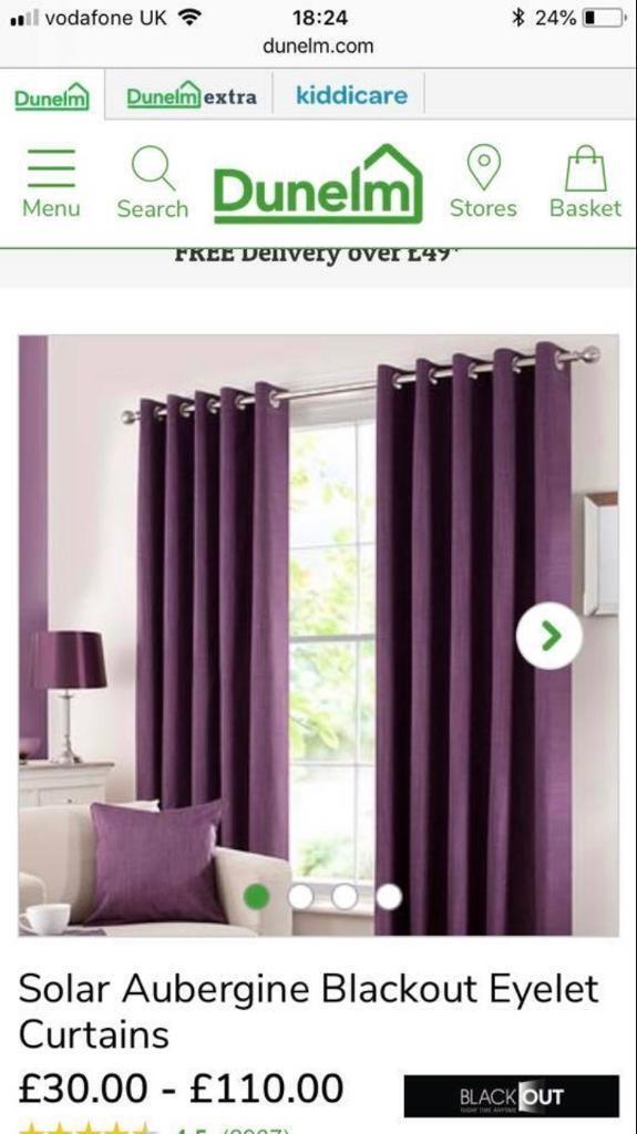 Dunelm 2x Sets Purple Blackout Solar Curtains RRP GBP175