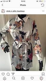 Ladies satin floral dresses size 8,10,12,14