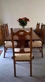 Lovely oak Dining/ Refectory Table & 6 upholstered chairs,