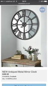 New Large Antiqued Mirror Clock