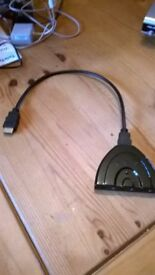 HDMI 1 to 3 port Adaptor for Tv, DVD etc £4