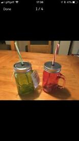 2 new cold drinks glasses/jars