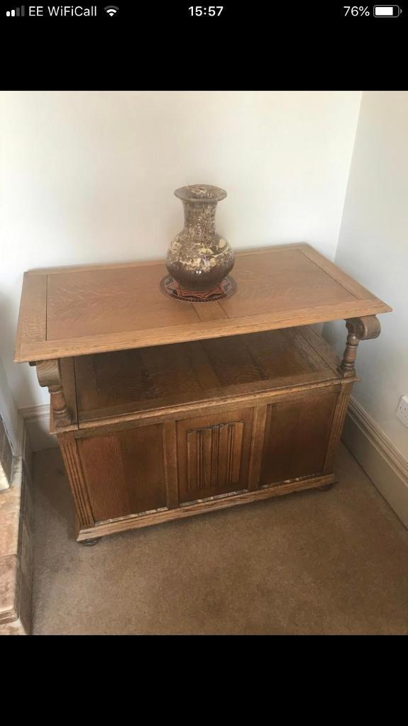 Oak Side Table Bench Storage