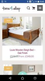 Sleigh bed and bedside units