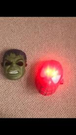Hulk and Spider-Man masks