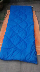 Single sleeping bag, blue, 38oz, reversible, opens fully, L180cm x W70cm apx, clean