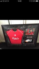 Steven Gerrard signed shirt,boot and picture
