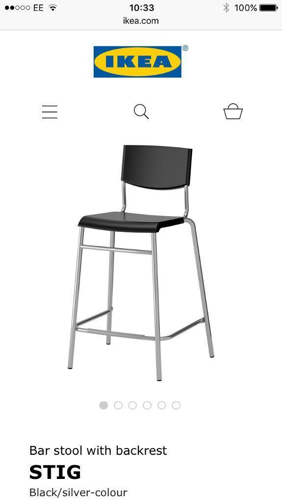 2x Ikea Stig Bar Stools