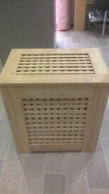 Wooden slated laundry bin