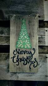 Xmas varnished papercut on wooden plaque