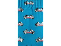 Curtains Bright blue chequered grand prix flag design