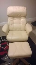 Leather Reclining Swivel Chair with Matching Foot Stool