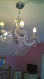 WHITE CRYSTAL CHANDELLIERS X 2
