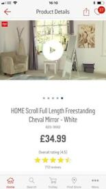 Reduced!!! Full length scroll standing mirror in cream/white