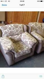 two seater and arm chair