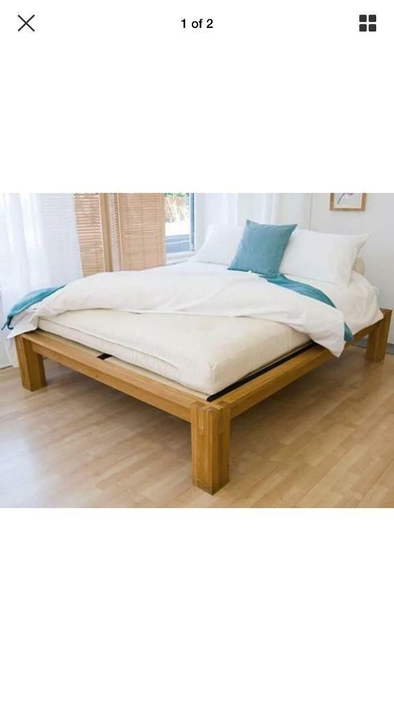 Clic Futon Company Solid Oak Kingsize Platform Bed Price Reduced