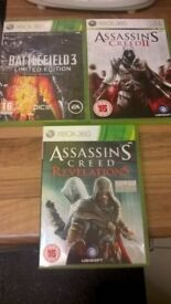 battle field (limited edition) Assassins creed revelations/assassins creed 2 Xbox 360 games