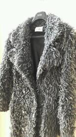 Full length faux fur coat