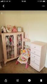 Babies wardrobe, drawers and crib nursery furniture