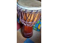 Djembe and Dholak Drums (bought in Africa and India) Hand carved, beautiful wood, original skins