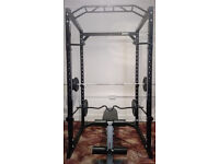 POWER CAGE WITH PULL UP BAR, WEIGHT BARBELL BAR 7FT ,CURL BAR , 4X15KG, 4X7,5 TRAINING BENCHKG