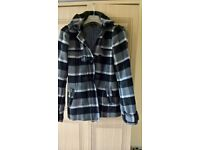 WOMENS BLACK CHECKED COAT, SIZE 12, WITH HOOD