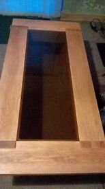 Solid Oak Smoked glass coffee table, excellent condition