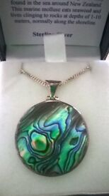 Beautiful Paua Shell Sterling Silver Necklace in box