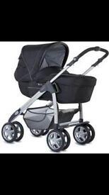 Silver cross Linear freeway pram, newborn car seat and accessories