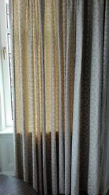 Beautifully made long lined curtains; 2x3 widths and 281 cm long