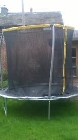 6ft trampoline with safety enclosure, 1 year old, for sale £10 buyer collects