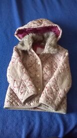 Girls beige with delicate floral pattern coat