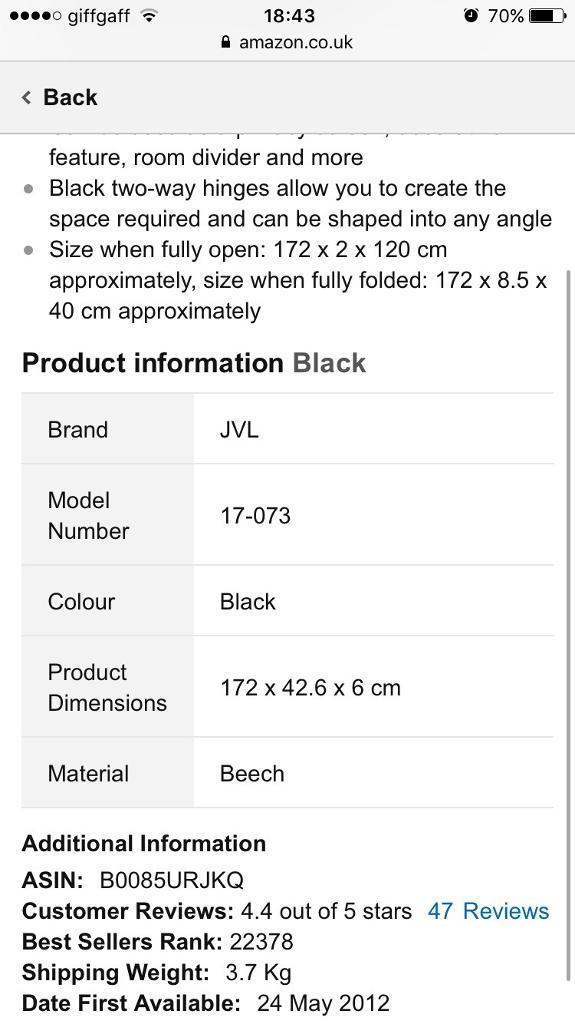Brand New Black Woven Room Divider