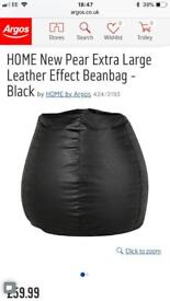 Extra large leather effect bean bag